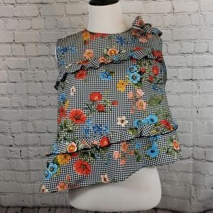 Zara Checkered background with floral design